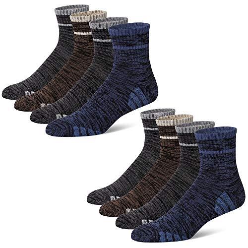 u&i - Calcetines deportivos de algodón para hombre (4 paquetes/8 unidades), gris, (Grey (4 Pairs))