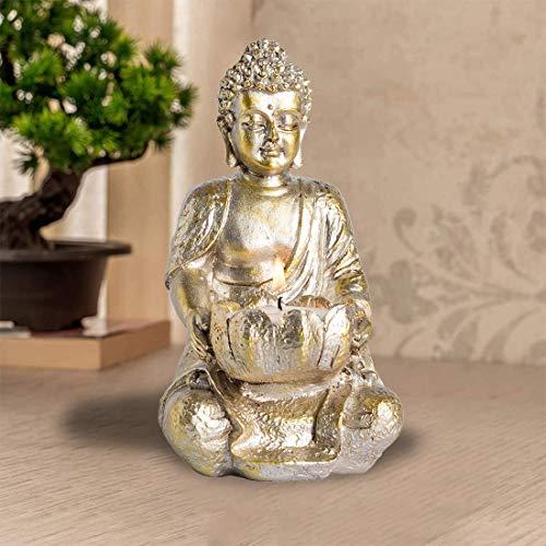 1 PCS Praying Buddha Statue,Meditating Buddha Statues Home Decoration ,Stone Buddha Tealight Holder for Home/Garden Buddha Decor, Antique Gold/White Look (Gold)
