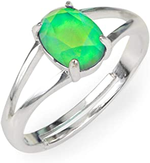 Minimalist Mood Ring in Silver Size Adjustable with Color Changing Facet Oval Crystal Stone