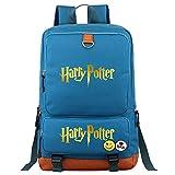 NYLY Mochila para portátil de Moda para Adolescentes, Bolso Escolar Informal de Hogwarts College, Mochila de Lona de Viaje Harry P M Azul