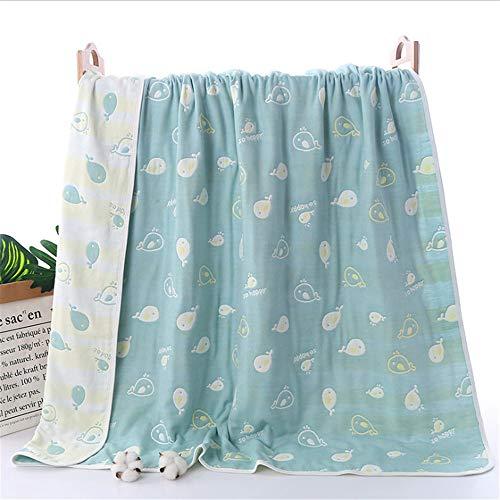 dfjd 6 6 Lagen Baumwolle Gaze Baby Badetuch Kindergarten Kinder Handtuch Hakenkreuz 200 X 240Cm Bett Green Dolphin