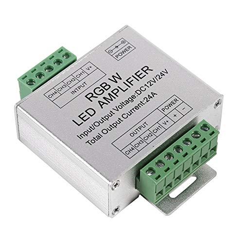 VIFERR RGBW-versterker, DC12-24V 24A RGBW-signaalversterker 4-kanaals uitgangsschakeling aluminium behuizing LED-strips besturingsdata signaalrepeater