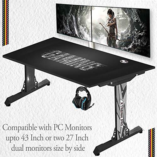 XTREAM PRO Multipurpose Computer Table (Black-Gaming-Black-Base)