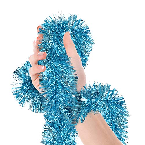 Christmas Tree Light Blue Tinsel Garland Wide Cut Metallic Streamers for Winter Wonderland Birthday Baby Shower Party Happy New Year Decorations