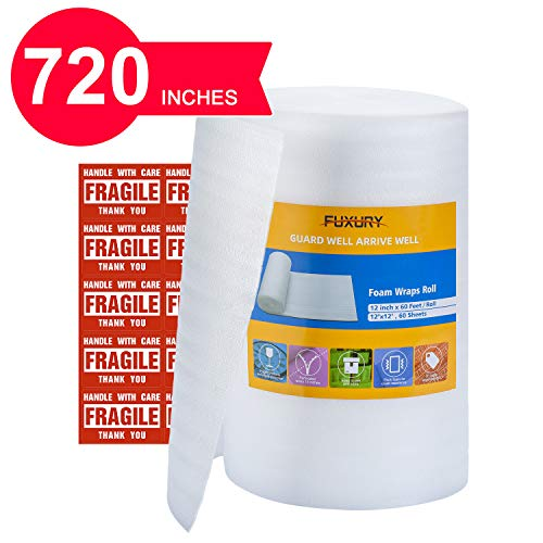 FUXURY Foam Wrap Roll 12'x60' (Feet),60 Pack 12' X 12' Packing Foam Sheets Packing Supplies for Moving,Packing Supplies Foam Wrap Moving Supplies Free Fragile Sticker Labels