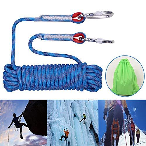 Profi Nylon Kletterseil, 10mm Sicherheitsseil mit Karabiner 10M Statisches Seil für Wanderung Bergsteigen Outdoor Sport Camping Höhlenforschung Rettungsausrüstung (Blau)