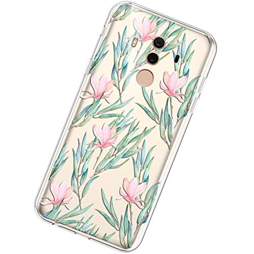 Coque Compatible avec Huawei Mate 10 Pro,Étui Housse Transparent Créatif Fleur Motif Clair Design Souple TPU Silicone Ultra Mince Poids léger Anti Choc Crystal Gel Soft Slim Flexible Bumper Case,#6