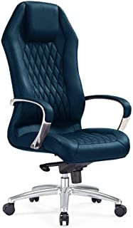 Modern Ergonomic Sterling Leather Executive Chair with Aluminum Base- Navy Blue