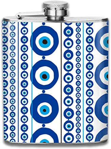 Blue Greek Evil Eye Evil Amulet Nazar Fashion Portable Stainless Steel Leak Proof Wine 7OZ Flask Travel Camping Flagon