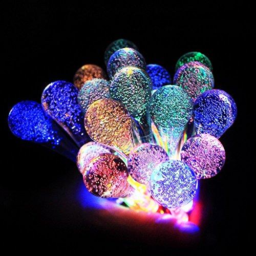JVJ Led-lichtsnoer op zonne-energie, 20 stuks, kristal, waterdruppels, voor buiten, feestelijke verlichting op zonne-energie, versiering voor buiten, tuin, huishouden, bruiloft