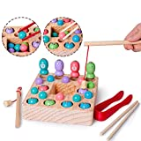Wooden Fishing Game Magnet Fishing Game Montessori Developmental Preschool Toy Color Recognition, 10 Fishes Beads Fishing Pole Clamp Chopsticks, Birthday Gift for 3 4 5+ Years Boy Girl Toddler
