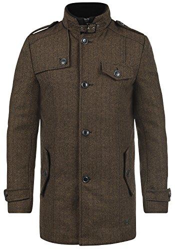 Indicode Brandan Herren Winter Mantel Wollmantel Lange Winterjacke mit Stehkragen, Größe:L, Farbe:Chocolate (026)
