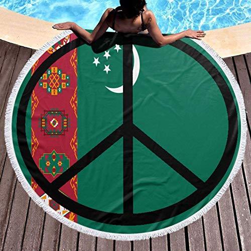 Chunwei Bandera de Turkmenistán, Toalla de Playa Redonda de Paz, Manta de 59 Pulgadas, Mantel de algodón, Toalla de Picnic, Esterilla de Yoga para Adultos/niños