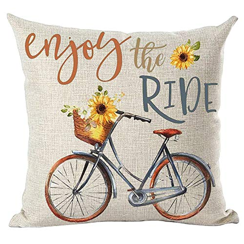 ramirar Ink Oil Painting Watercolor Blue Bicycle Bike Yellow Sunflowers Enjoy The Ride Decorative Throw Pillow Cover Case Cushion Home Living Room Bed Sofa Car Cotton Linen Square 18 x 18 Inches