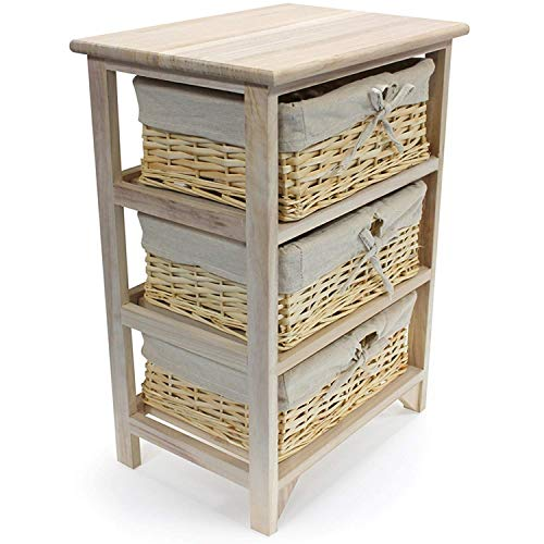 GR8 Home 3 Tier Drawer Wooden Storage Cabinet with Wicker Baskets Bedroom Bedside Unit Furniture