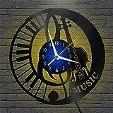 Guitarra, Teclado música Tema de Rendimiento Vinilo Grabar Reloj de Pared, Reloj de Pared para la Cocina Casa Sala de Estar Dormitorio Escuela Regalo Reloj en línea Reloj de Vinilo Registro de Pare