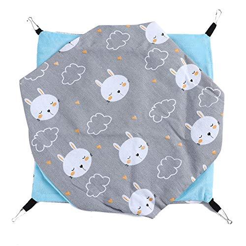 Ymiko Hamster Hangmat Bed Opknoping Bed Dubbellaags Canvas Nest Warm Zacht Bed Huis Slaapbed voor Klein Huisdier, Hamster, Cavia, Chinchilla(Grijs)
