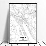 Leinwanddruck,Zürich Schwarz Weiß Benutzerdefinierte Welt