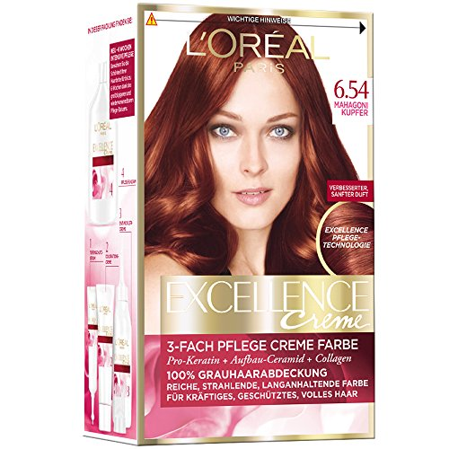 L'Oréal Paris Excellence Creme Coloration, 6.54 - Mahagoni-Kupfer (1 x 1 Stück)