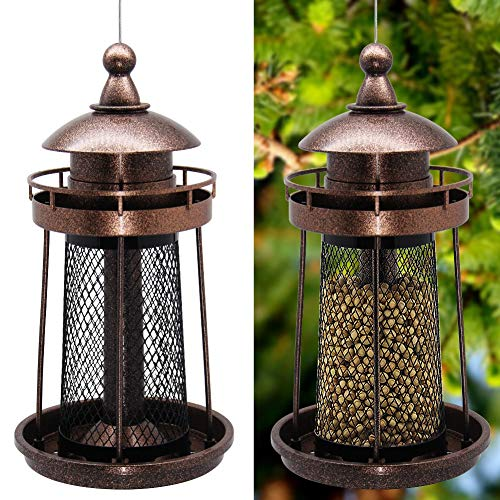 Twinkle Star Wild Bird Feeder Hanging for Garden Yard Outside Decoration Lighthouse Shaped
