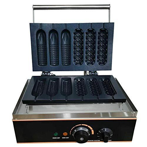 Máquina de gofre de 1500 W, gofre, cocina; 6 gofres a la vez para gofres eléctricos, profesional, pancake Waffle, crepera comercial, antiadherente, 50-300 °C, 220 V
