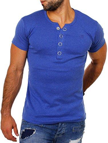 Young & Rich Herren Uni feinripp T-Shirt mit Knopfleiste & tiefem Ausschnitt deep V-Neck einfarbig Big Buttons große Knöpfe 1872, Grösse:3XL;Farbe:Blau-Melange