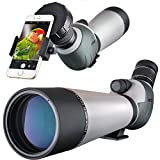 HD 20-60x80 Spotting Scope, Waterproof Dual Focusing Zoom BAK4 Fully Multi Coated 45 Degree Angled Eyepiece for Hunting Archery Shooting Targets Bird Watching with Smartphone Adapter