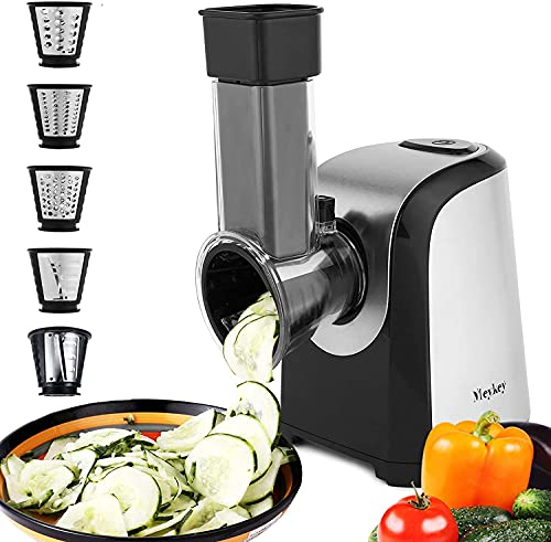 Meykey Rallador Eléctrico de Verduras y Fruta, Cortador Verduras 150W, Rallador Eléctrico con 4 Accesorios de Acero Inoxidable Cilindros,Sin BPA