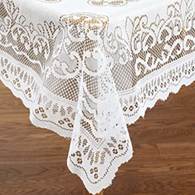 White Lace Reusable Tablecloth Rectangle Size 60  X 104