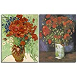 2 Pcs Abstract Red Poppies & Daisies Wall Art by Van Gogh Waterproof Canvas Prints for Livingroom Bathroom Gallery Wrap Inner Frame with Accessories for Hanging (A, 12X16InchX2Pcs)
