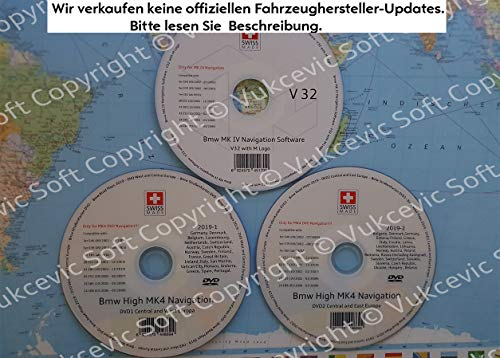 B M W HIGH Navigation MK IV DVD1 + DVD2 + Software Update V32 2019
