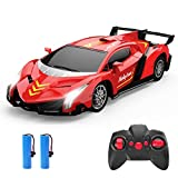 Remote Control Car, Holyton RC Toy Cars 2. 4GHz, 1/18 Scale Electric Model Vehicle for Kids and Toddler, with LED Lightning, 2 Rechargeable Batteries, Hobby Toys for Boys and Girls, Xmas Gifts Red