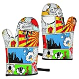 FONSMAY Cooking Gloves,Comic Place Speech Bubbles Symbols Oven Mitt Heat Resistant for BBQ Baking Microwave Christmas for 7.3 X 11 inches