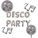 LaVenty Set of 5 Disco Party Balloons Disco Fever Party Decoration 70s Disco Party Decoration Saturday Night Fever Party Decorations Disco Ball Dance Birthday Party Supplies