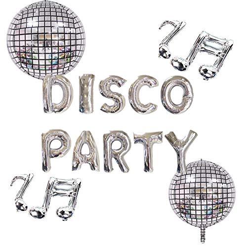 70s Disco Party Balloons Set inc. Mirror Ball and Notes Balloons