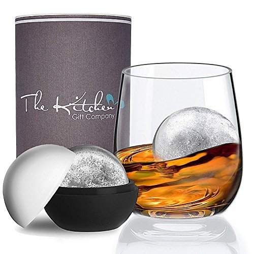 Crystal Whiskey Glass & XL Ice Ball Mould Gift Set - The Perfect Tumbler for your Scotch on the rocks