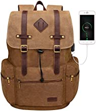 Modoker Canvas Leather Laptop Backpack Vintage Bookbag for Men Women, Travel Laptops Rucksack Backpack 12-17 Inch Computer School College Bag with USB Charging Port Fashion Weekend Daypack, Brown