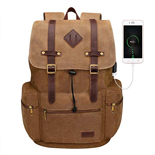 Modoker Canvas Leather Laptop Backpack Vintage Bookbag for Men Women, Travel Laptops Rucksack Backpack 12-17 Inch Computer School...