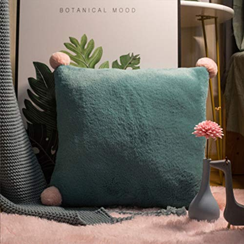 Almohada de color sólido para el hogar, sofá, almohada grande, accesorios para coche, almohada lumbar, simple, verde, 40 x 40 cm