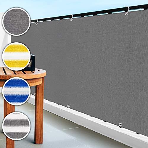 casa pura Balkon Sichtschutz UV-Schutz | 90x500cm | wetterbeständiges und pflegeleichtes HDPE-Spezialgewebe | grau