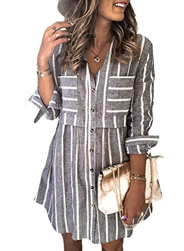 FOBEXISS Vestido para mujer clásico con estampado de rayas, vestido casual de manga larga, vestido tipo túnica con botones, vestido acogedor para mujer