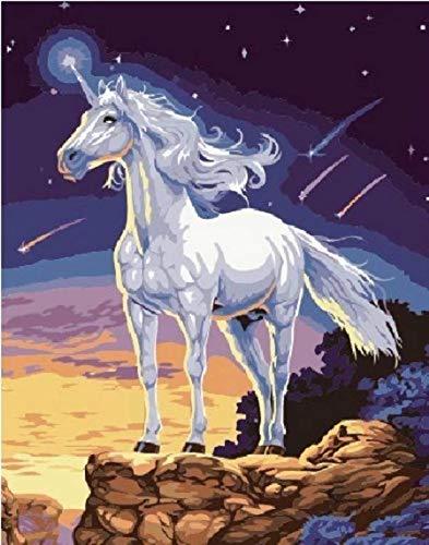 dorara DIY pintura al óleo para adultos niños pintura por número Kit Digital pintura al óleo unicornio 16x 20pulgadas