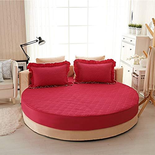XGguo Protector de colchón/Cubre colchón Acolchado de Fibra antiácaros, Transpirable, Sábana de Cama Redonda de algodón Puro Quilted-Rose Red-Quilted_2.0m