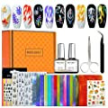Modelones Flame Nail Decals Stickers Full Kit - 20PCS Holographic Fire Flame Nail Art Decals 3D Nail Stencil for Nails Manicure Tape DIY Decoration With Scissors and Tweezers