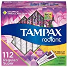 Tampax Radiant Plastic Tampons, Regular/Super Absorbency Duopack, 112 Count, Unscented, 28 Count, Pack of 4 (112 Count Total)