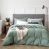Bedsure Duvet Cover Queen Size Set with Zipper Closure, Ultra Soft 3 Pieces Washed Comforter Cover Sets (1 Duvet Cover + 2 Pillow Shams), Sage Green, 90x90 inches