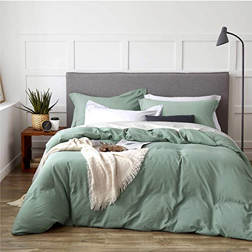 Bedsure Sage Green Washed Duvet Cover Full/Queen Size Set with Zipper Closure, Ultra Soft Hypoallergenic 3 Pieces Comforter Cover Sets (1 Duvet Cover + 2 Pillow Shams), 90x90 inches