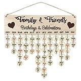 Calendario de madera para colgar en la pared con etiquetas, adornos hechos a mano, recordatorio de aniversario de cumpleaños para familiares y amigos, tablero de calendario para decoración del hogar
