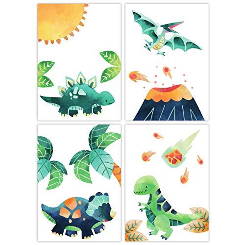 Pandawal Dinosaurier Poster Wanddeko Dino Mint Bilder Kinderzimmer Deko Junge 4er Set für Kinder DIN A4 Wandbilder(T6)
