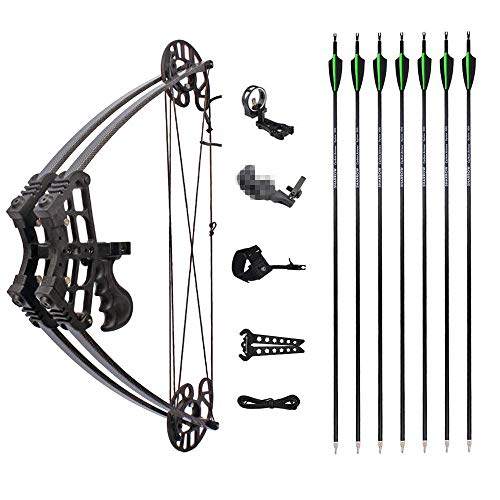 MILAEM Archery Compound Bow Hunting Triangle Bow 50lbs Short Axis Right Left Hand for Outdoor Hunting Competition Composite Bow (Black kit)